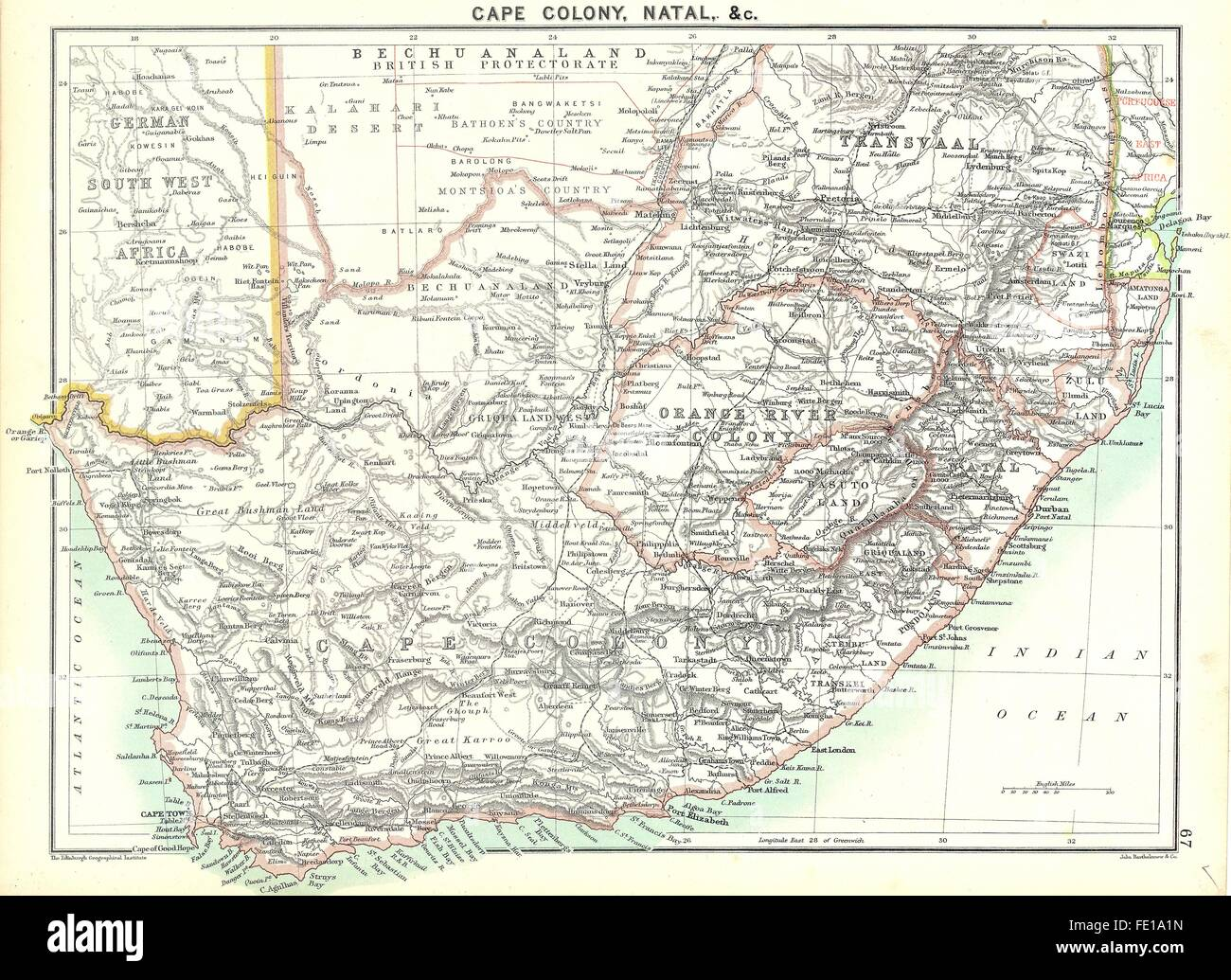 Natal South Africa Map.South Africa Cape Colony Natal 1900 Antique Map Stock Photo