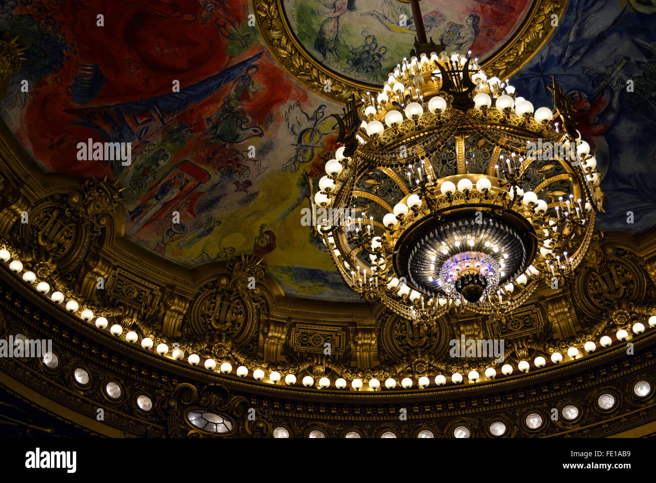 Palais garnier chandelier stock photos palais garnier chandelier auditorium ceiling at the palais garnier stock image aloadofball Images