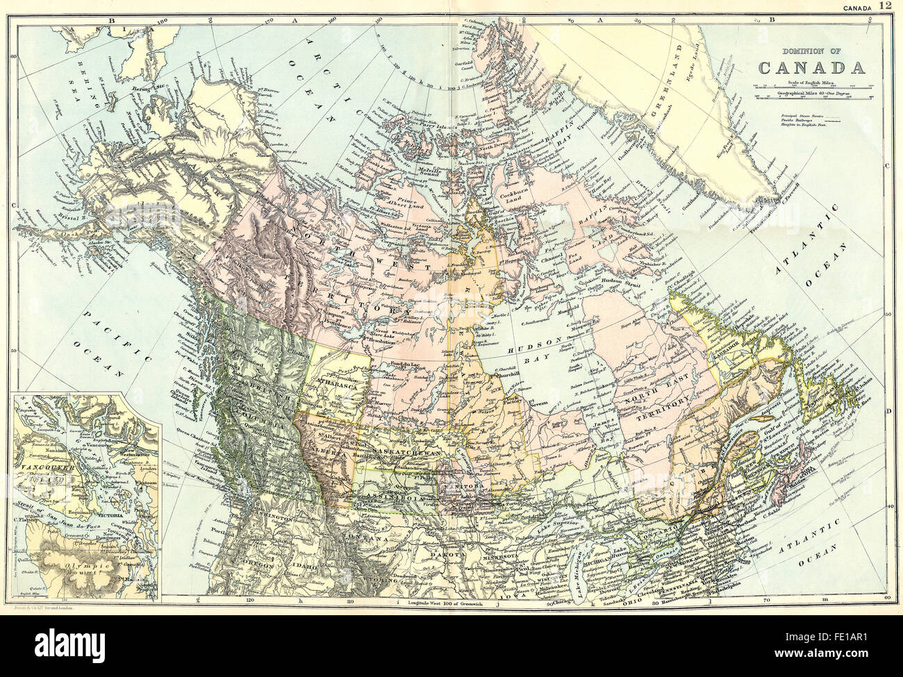 Map Of Canada 1905.Canada Dominion Of Vancouver Island 1905 Antique Map Stock Photo