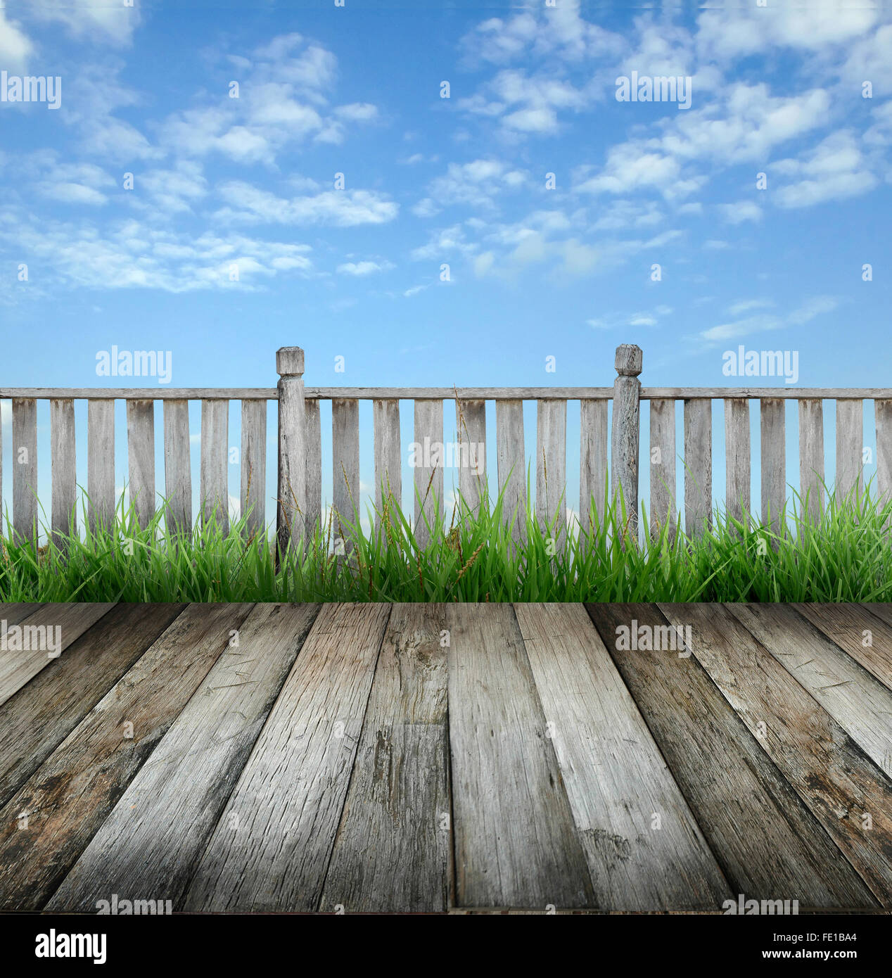 old wooden terrace and blue sky - Stock Image