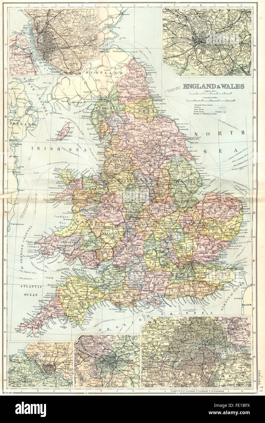 Map Of England Liverpool.Uk Manchester Liverpool Bristol Birmingham 1905 Antique Map