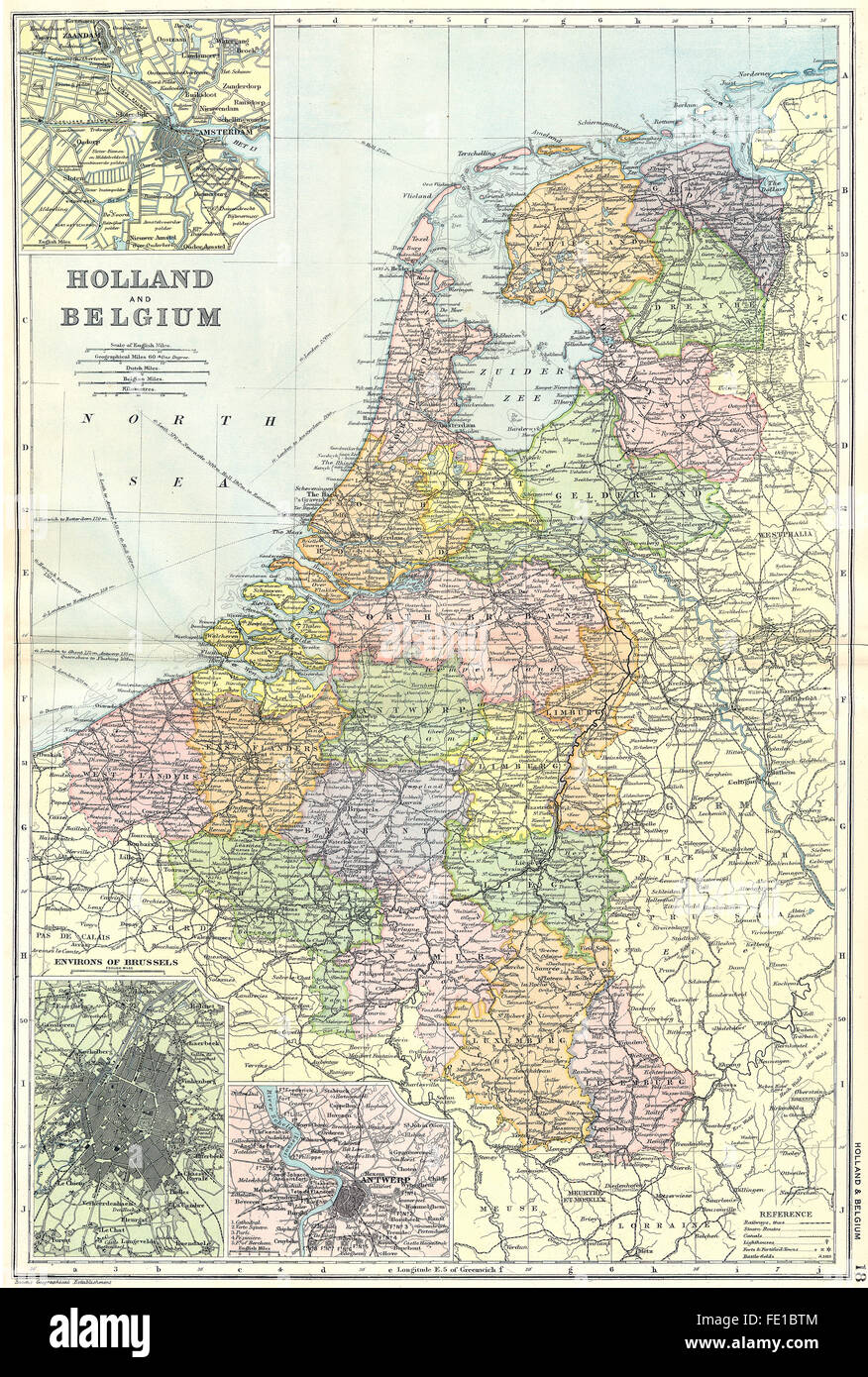 netherlands belgium amsterdam brussels antwerp 1905 antique map