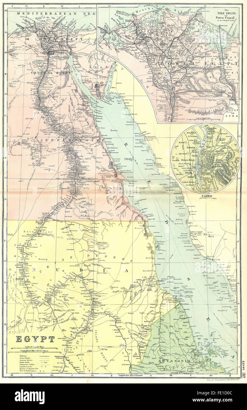 EGYPT Nile Delta Suez Canal Cairo 1905 antique map Stock Photo