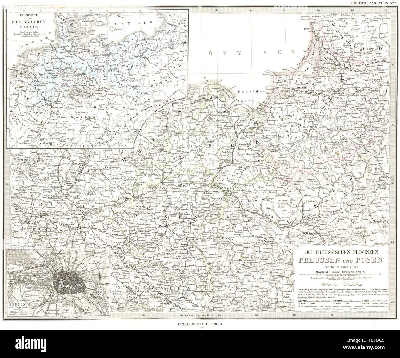 POLAND: Preussen Posen; Berlin Prussia, 1879 antique map - Stock Image