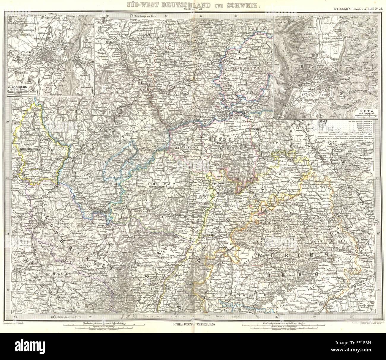 GERMANY: Deutschland Schweiz; Strasbourg; Metz, 1879 antique map ...