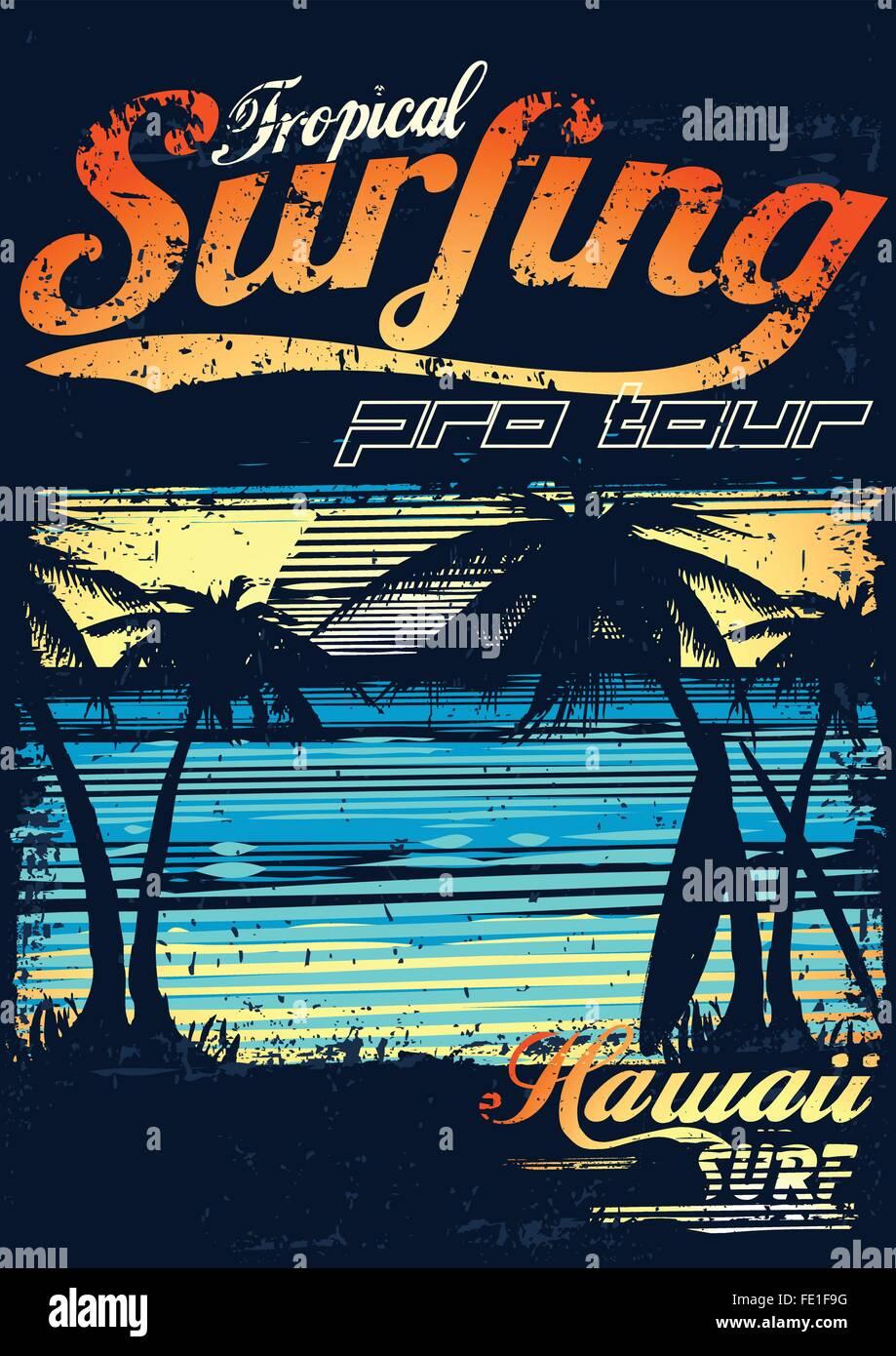 Tropical surfing at Hawaiian surf beach . - Stock Vector