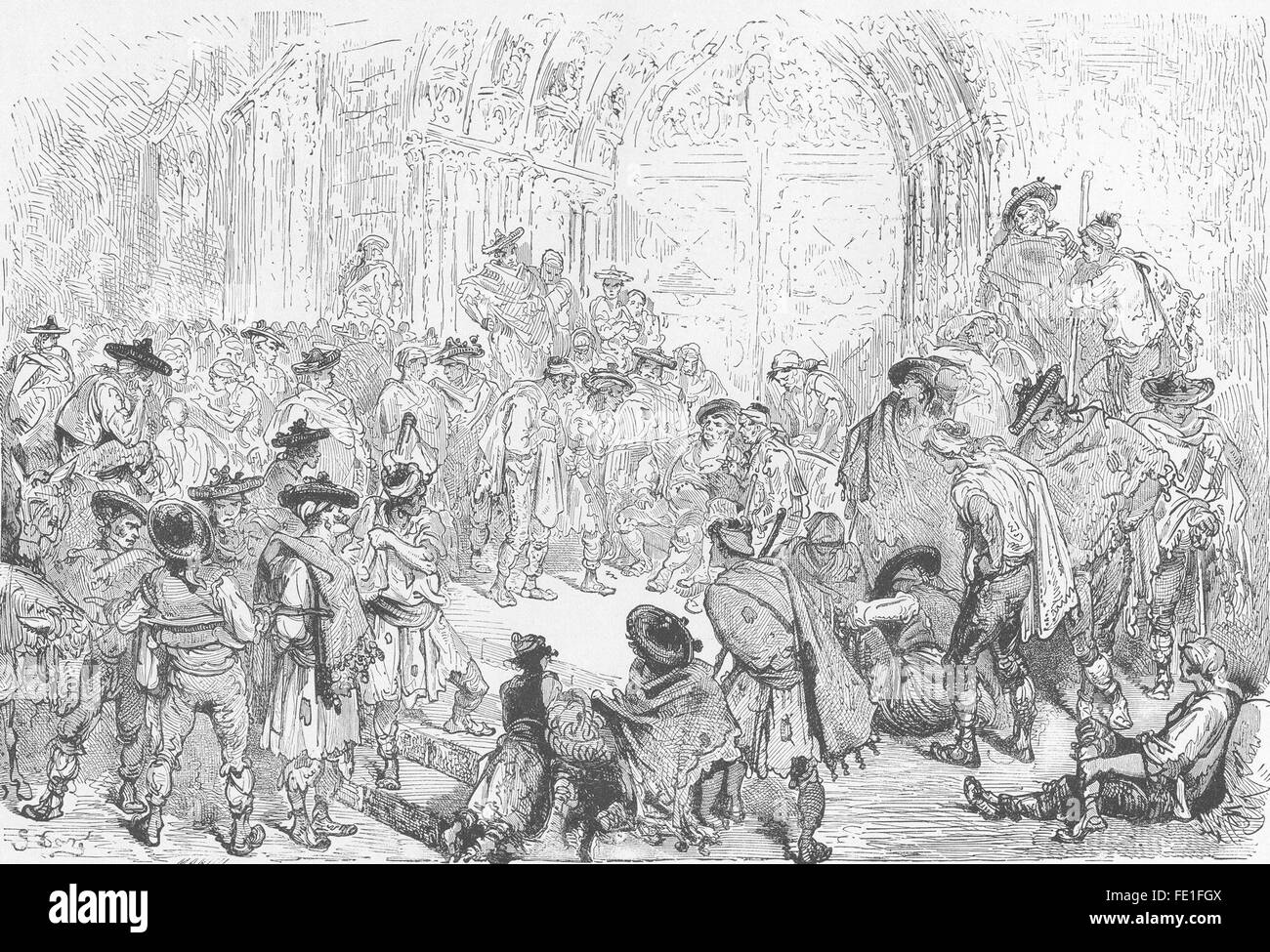 SPAIN: Tribunal of the waters, Valencia, antique print 1881 Stock Photo