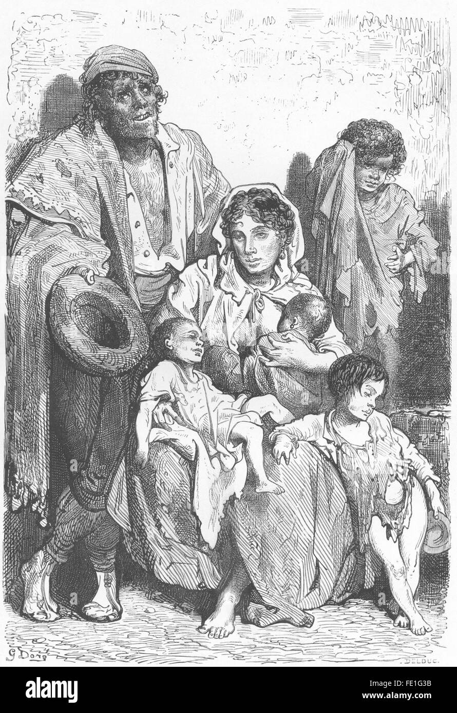 SPAIN: A family of Mendicants, antique print 1881 - Stock Image