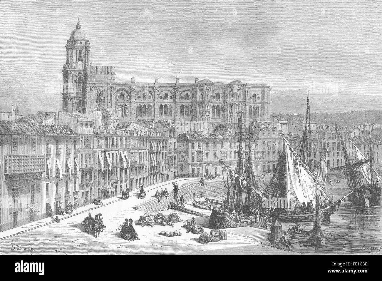 SPAIN: The Cathedral and Port of Malaga, antique print 1881 - Stock Image