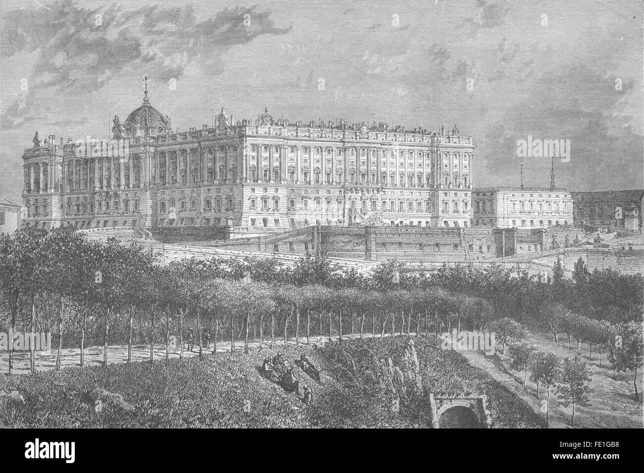 SPAIN: The Palacio real of Madrid, antique print 1881 Stock Photo