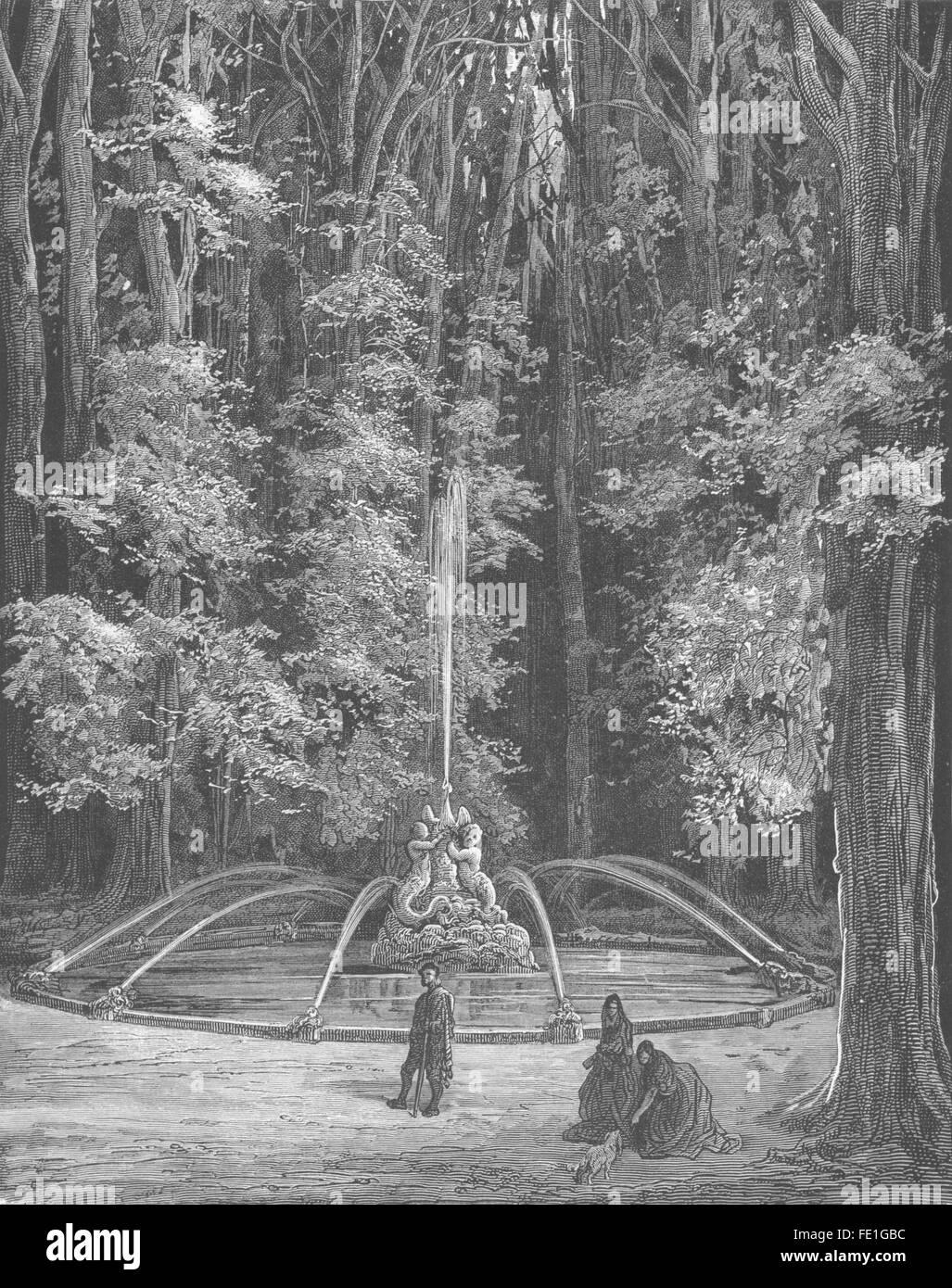 SPAIN: La Fuente del Cisne(Fountain of the Swan)Madrid, antique print 1881 Stock Photo