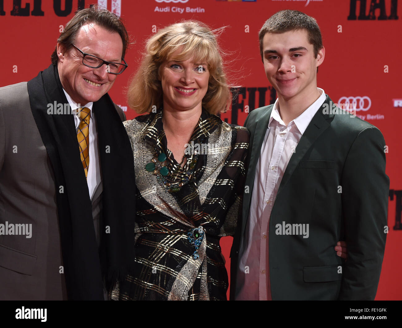 Designer Nanna Kuckuck(C), her husband Dirk Ullmann (L) and her son Mel arrive to the German premiere of the - Stock Image