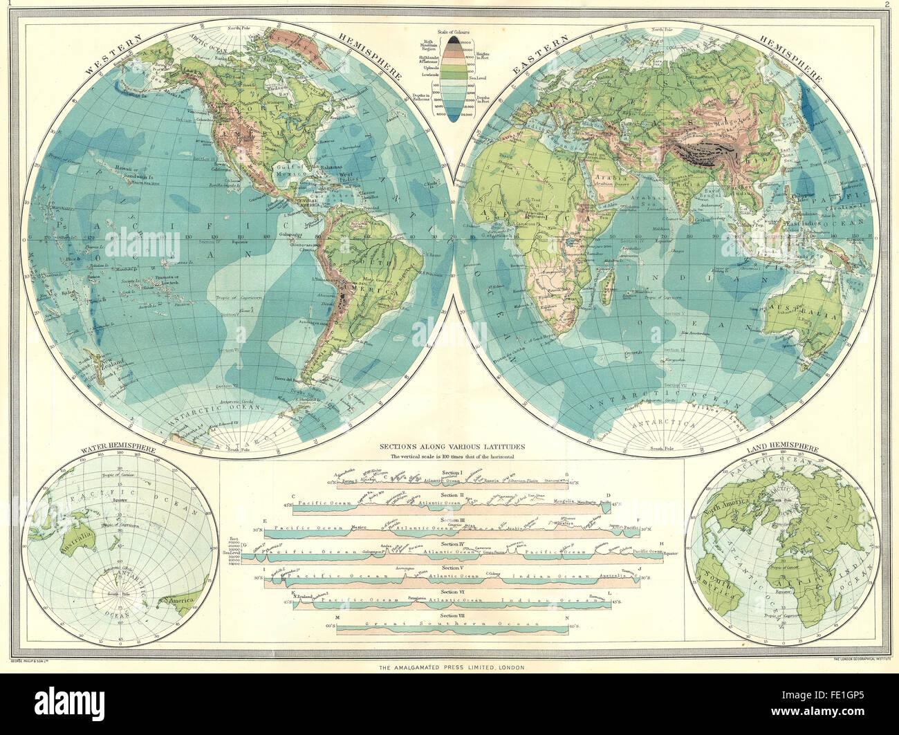 Eastern hemisphere map stock photos eastern hemisphere map stock world hemispheres physical western hemisphere eastern water land 1907 map gumiabroncs Choice Image