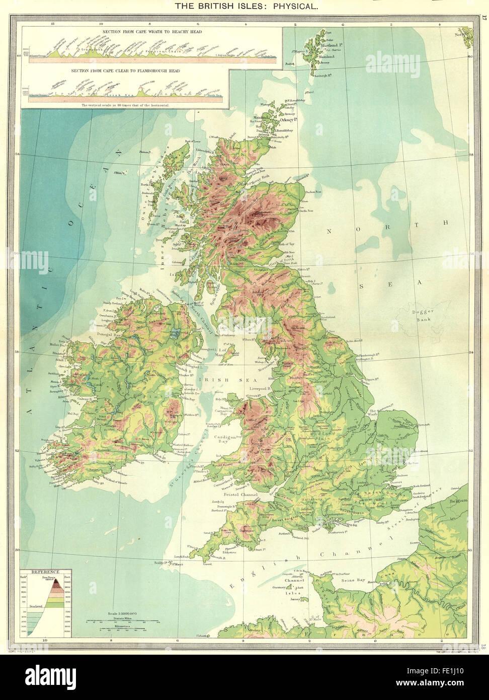 UK: The British Isles: Physical, 1907 antique map Stock Photo ...