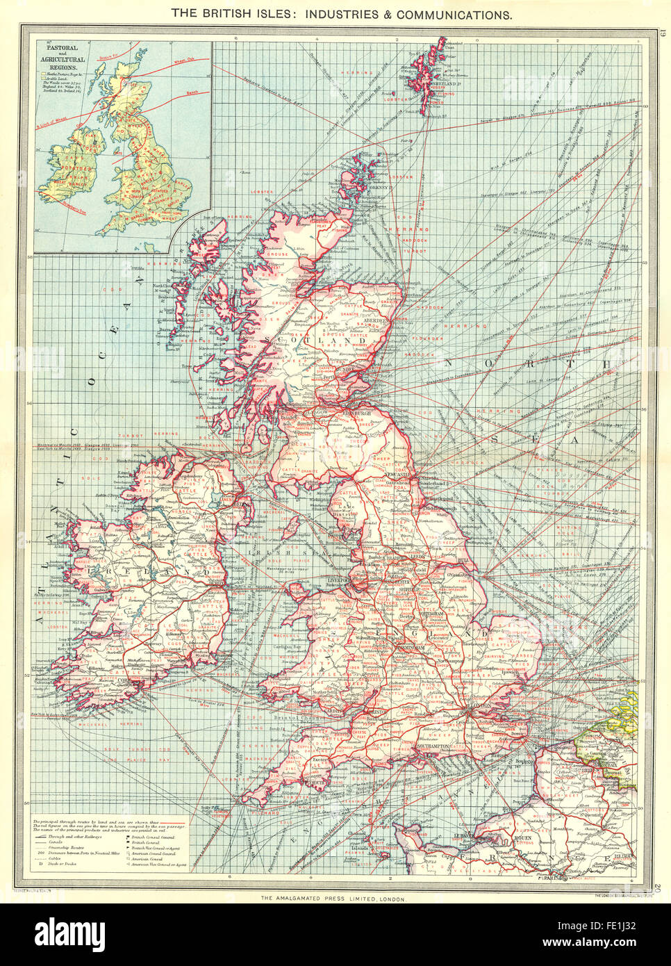 BRITISH ISLES: Industry & Communication; Pastoral & agricultural, 1907 old map - Stock Image