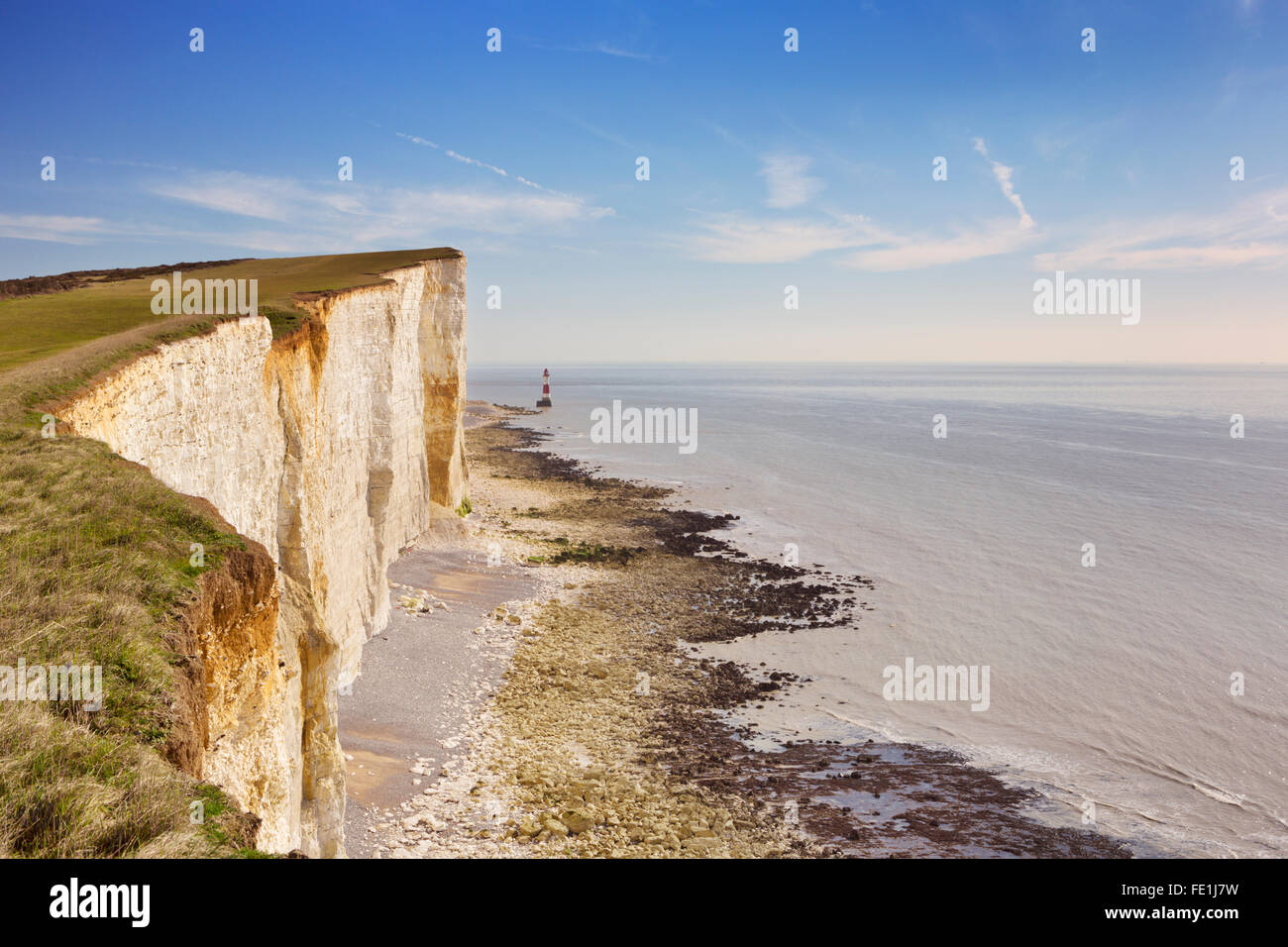 The cliffs and lighthouse at Beachy Head on the south coast of England. - Stock Image