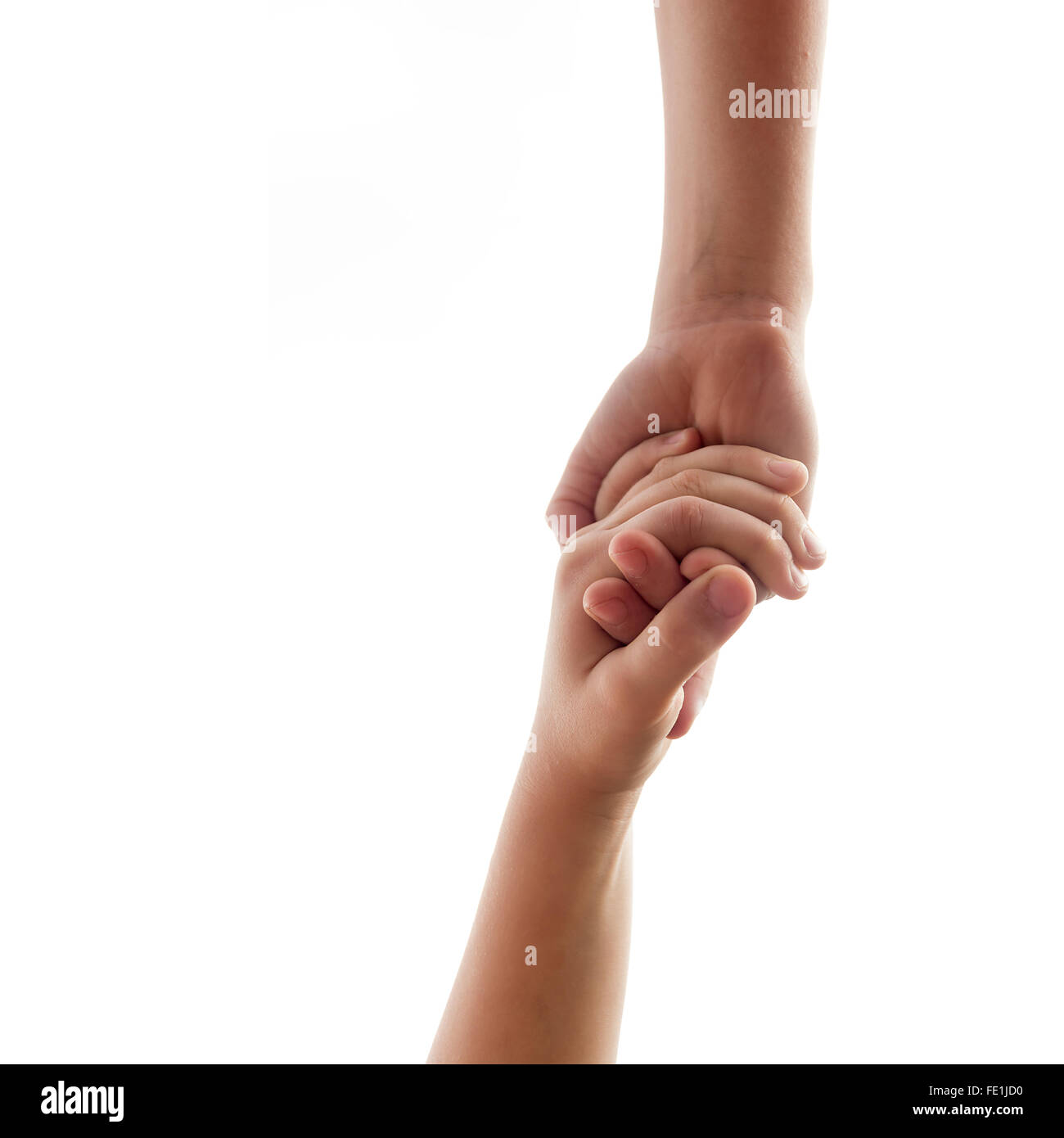 helping hands - two underage brothers or friends hold over white background - Stock Image