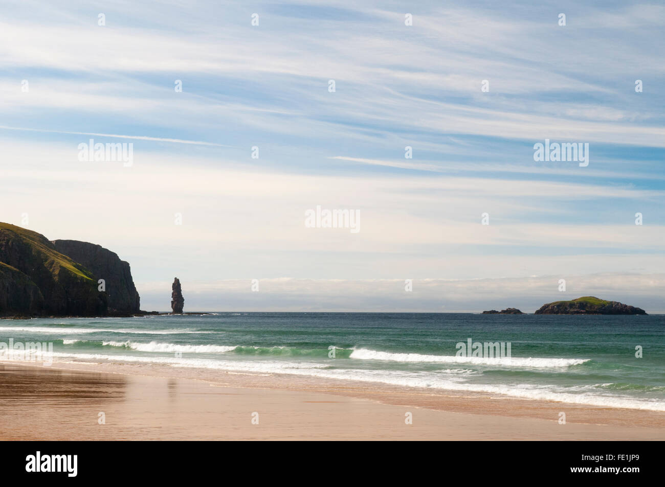 The sea stack Am Buachaille and the island of  Am Balg just off the headland of Rubh' a Bhuachaille seen from - Stock Image
