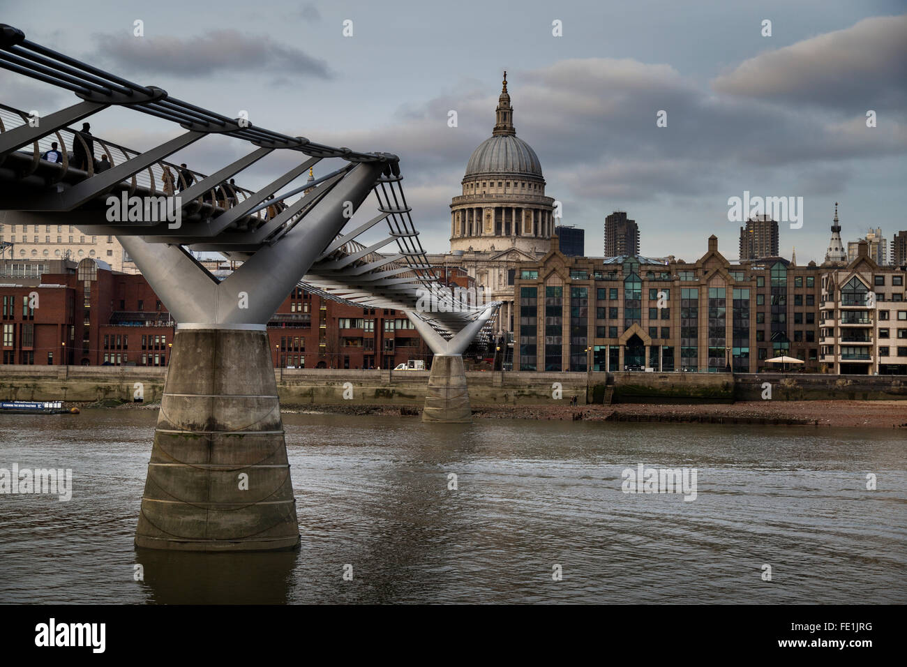 St. Pauls Cathedral and the Millennium Bridge - Stock Image