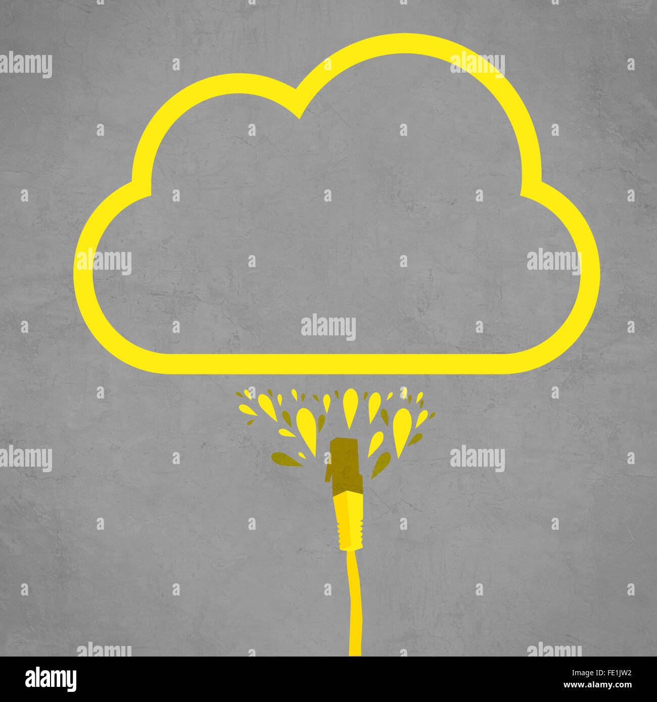 LAN cable connected to cloud service, simple flat line illustration of internet technology cloud computing concept. - Stock Image