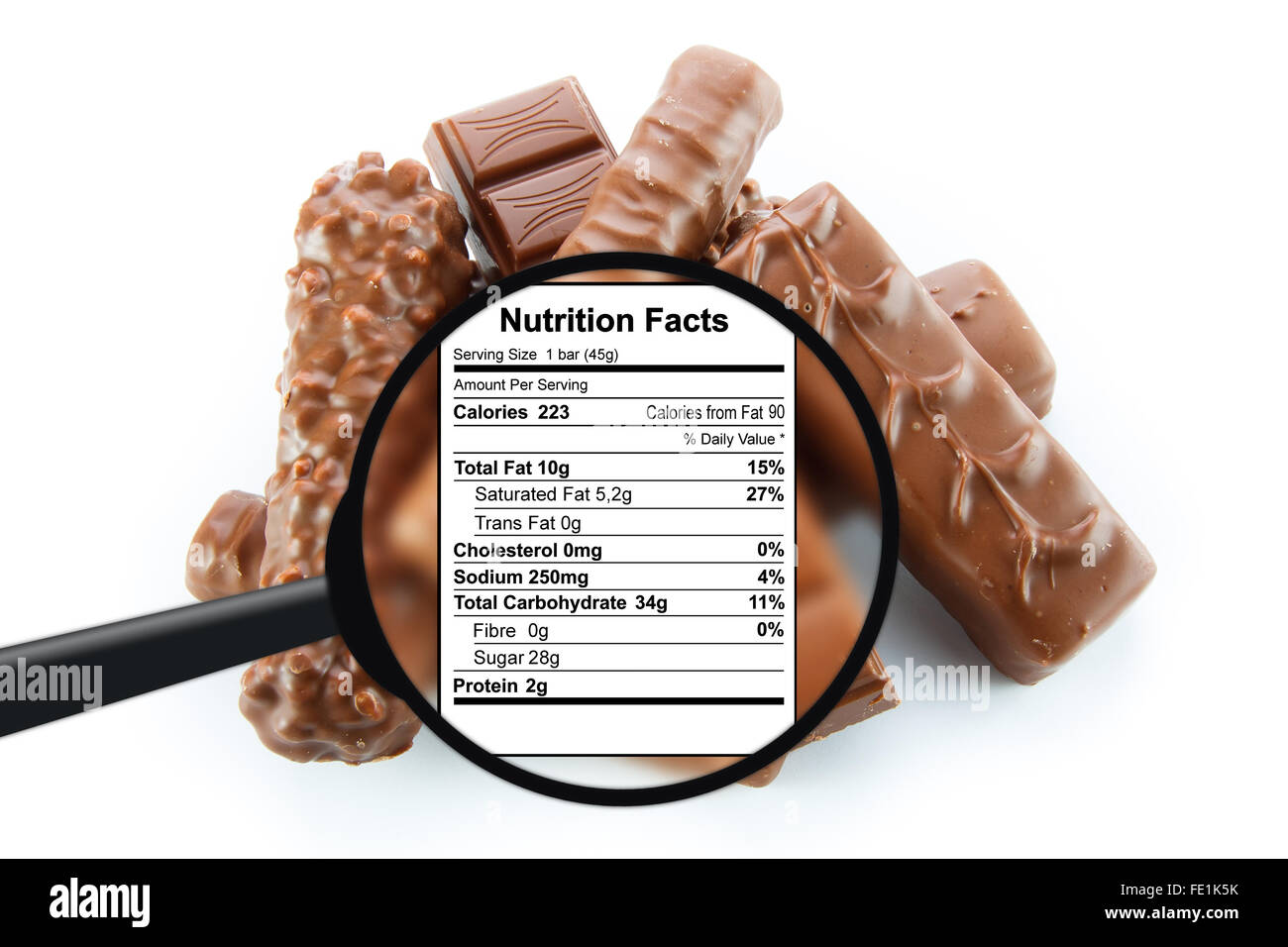 Chocolate bars - nutrition facts - Stock Image