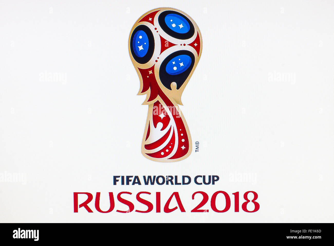 GDANSK, POLAND - NOVEMBER 14, 2015. Official logo of the football world championship in Russia on computer screen. - Stock Image