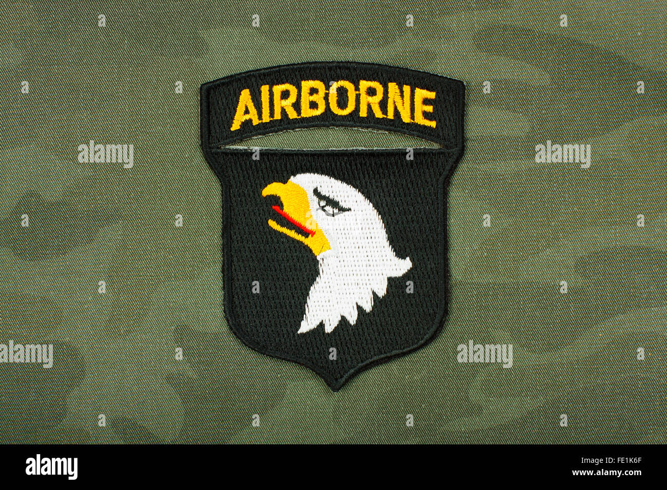 World War 2 -  insignia US Army 101st Airborne Division on reconstruction group uniform. - Stock Image