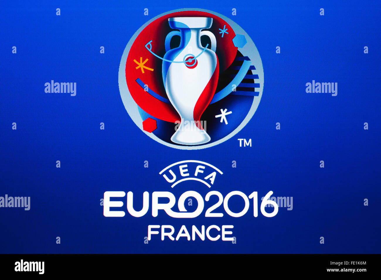 GDANSK, POLAND - NOVEMBER 20, 2015. Logo of the 2016 UEFA European Championship in France on computer screen - Stock Image
