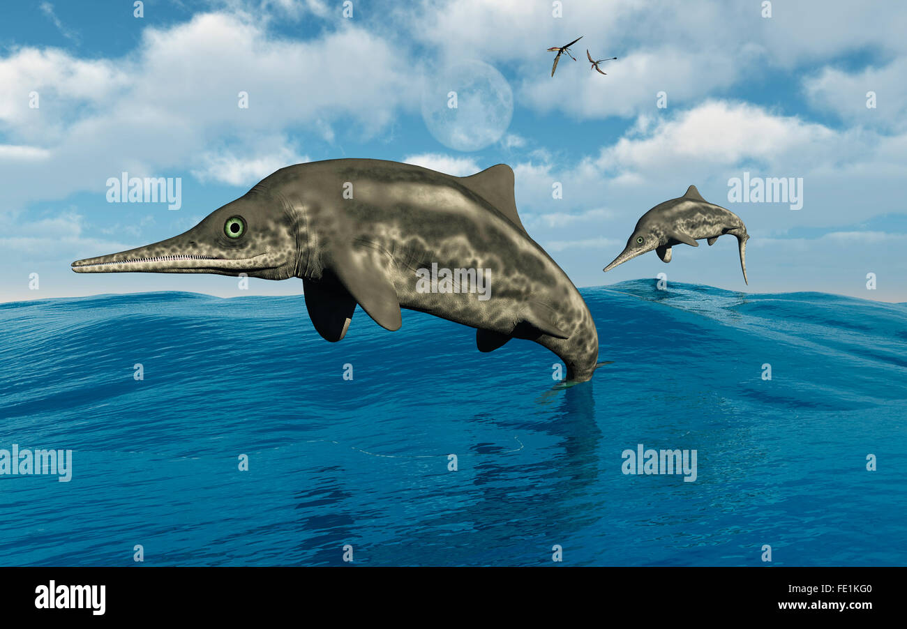 Ichthyosaurus Jumping Out Of Their Watery Home. - Stock Image