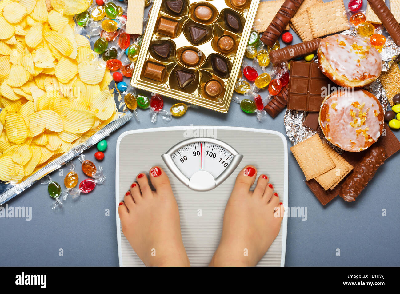 Unhealthy diet - overweight. - Stock Image