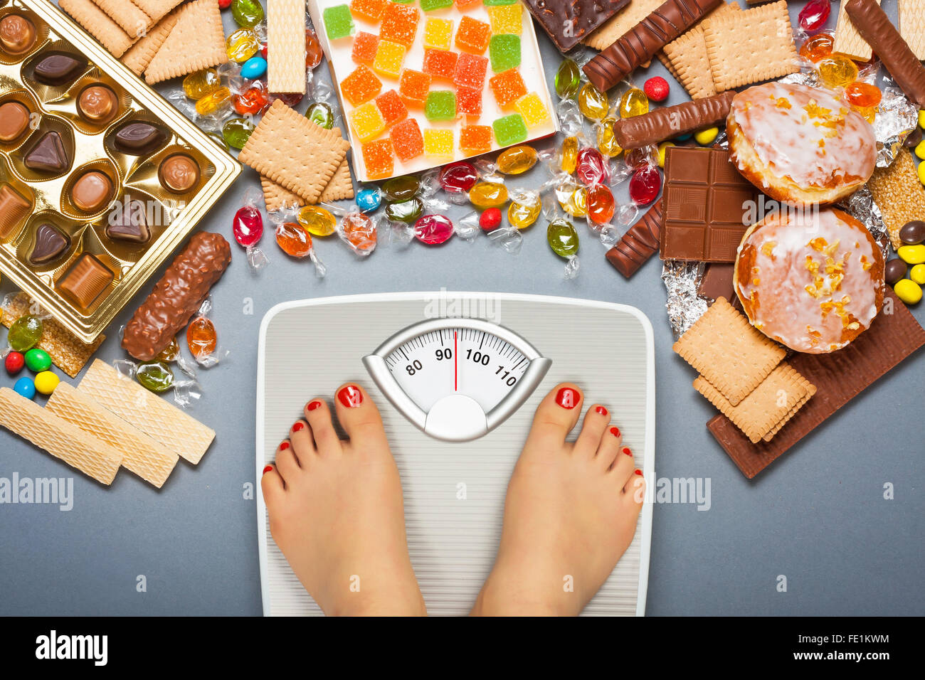 Unhealthy diet - overweight. Feet on bathroom scale and chocolate, jelly cubes, candies, chocolate bars, cookies, - Stock Image