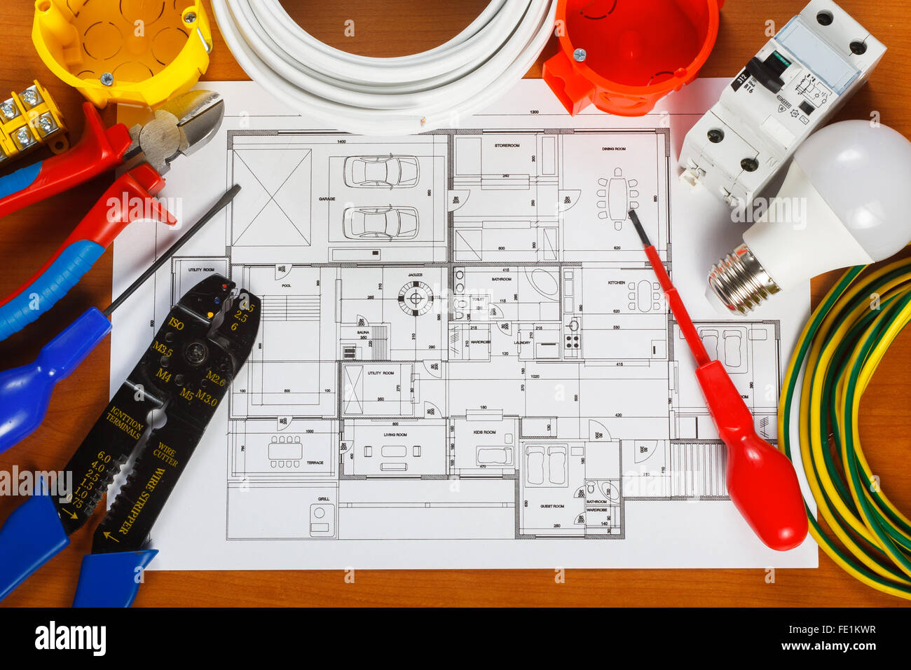 electrical equipment tools and house plans on the desk stock photo rh alamy com house wiring equipments house wiring equipments pdf