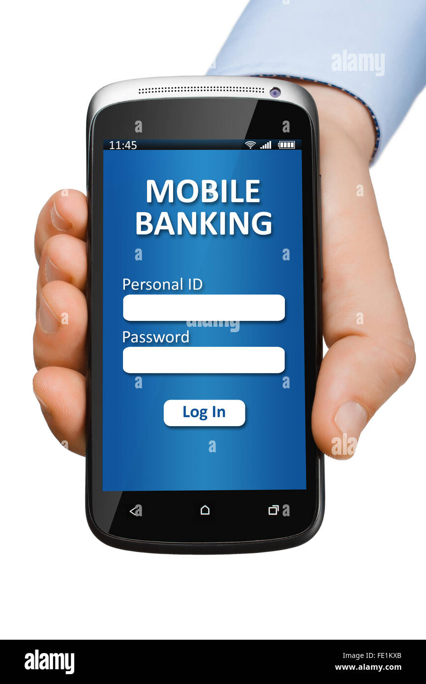 Hand holding a smartphone with open banking application - Stock Image