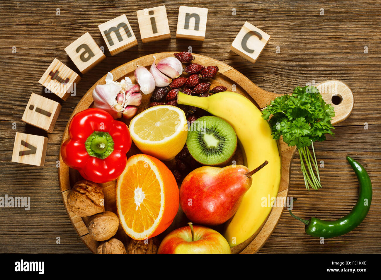 Vitamin C in fruits and vegetables. Natural products rich in vitamin C - Stock Image