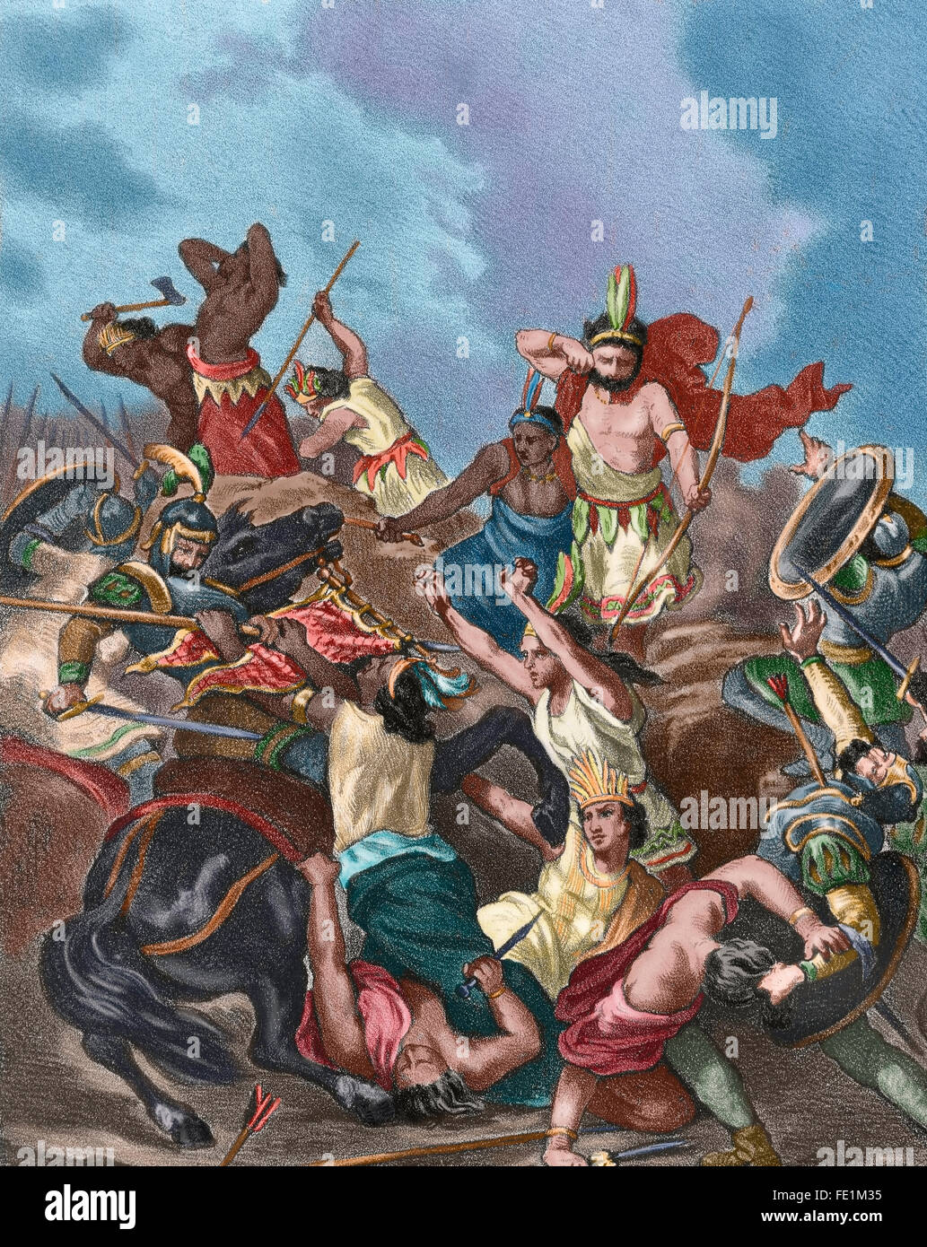 Spanish conquest of the Aztec Empire (1519-1521). Battle of Otumba, 1520.  Engraving, 1875. Colored.