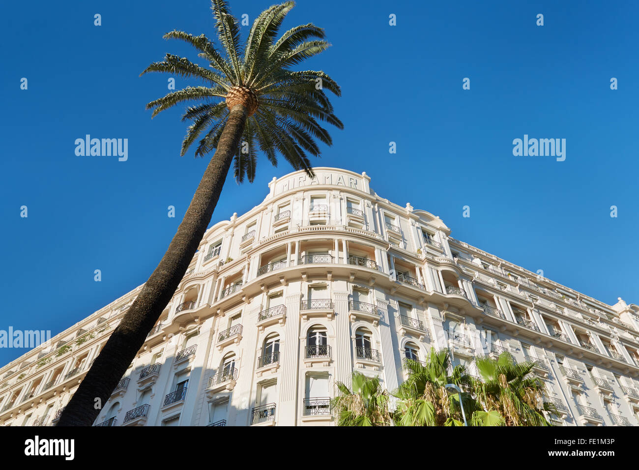 Luxury hotel 'Le Palais Miramar', located on famous Croisette boulevard in Cannes - Stock Image