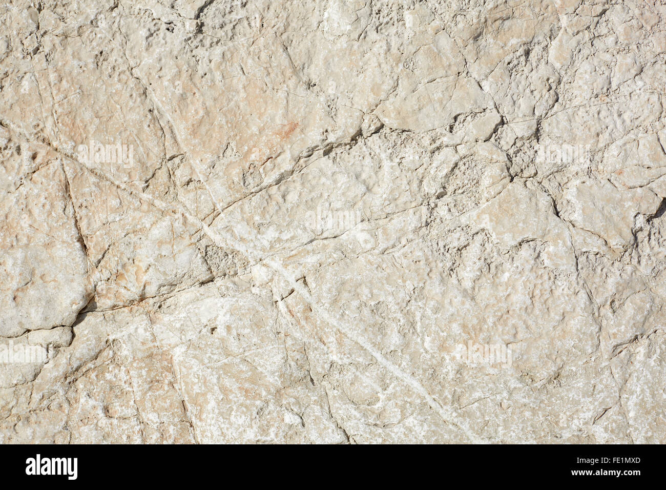 Warm white stone texture background in sunlight - Stock Image