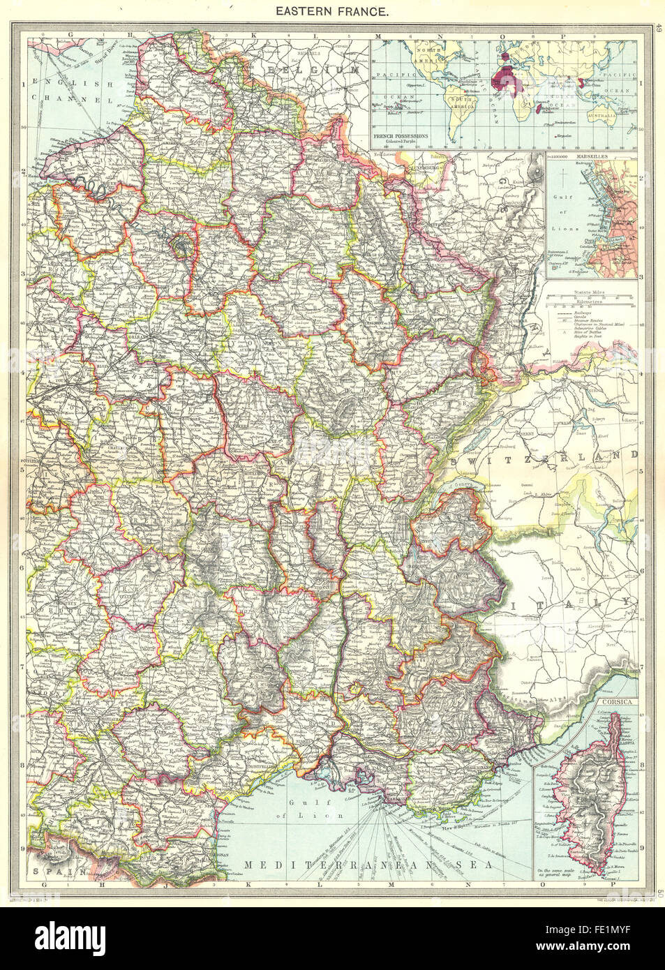 FRANCE: Eastern; maps of French Possessions; Marseilles; Corsica, 1907 - Stock Image