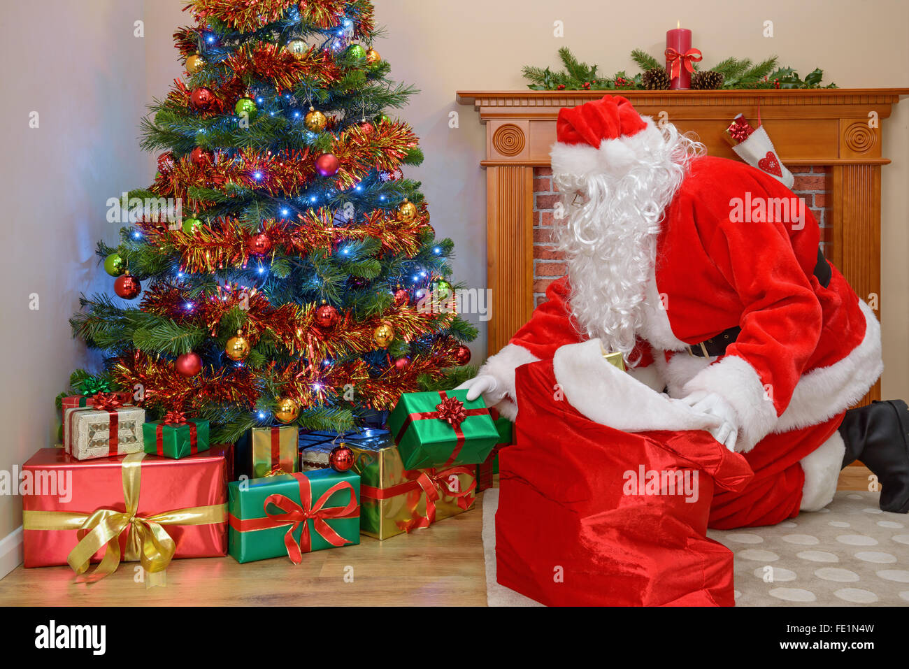 santa claus delivering presents to a house and taking gifts from his sack - Santa Claus With Presents