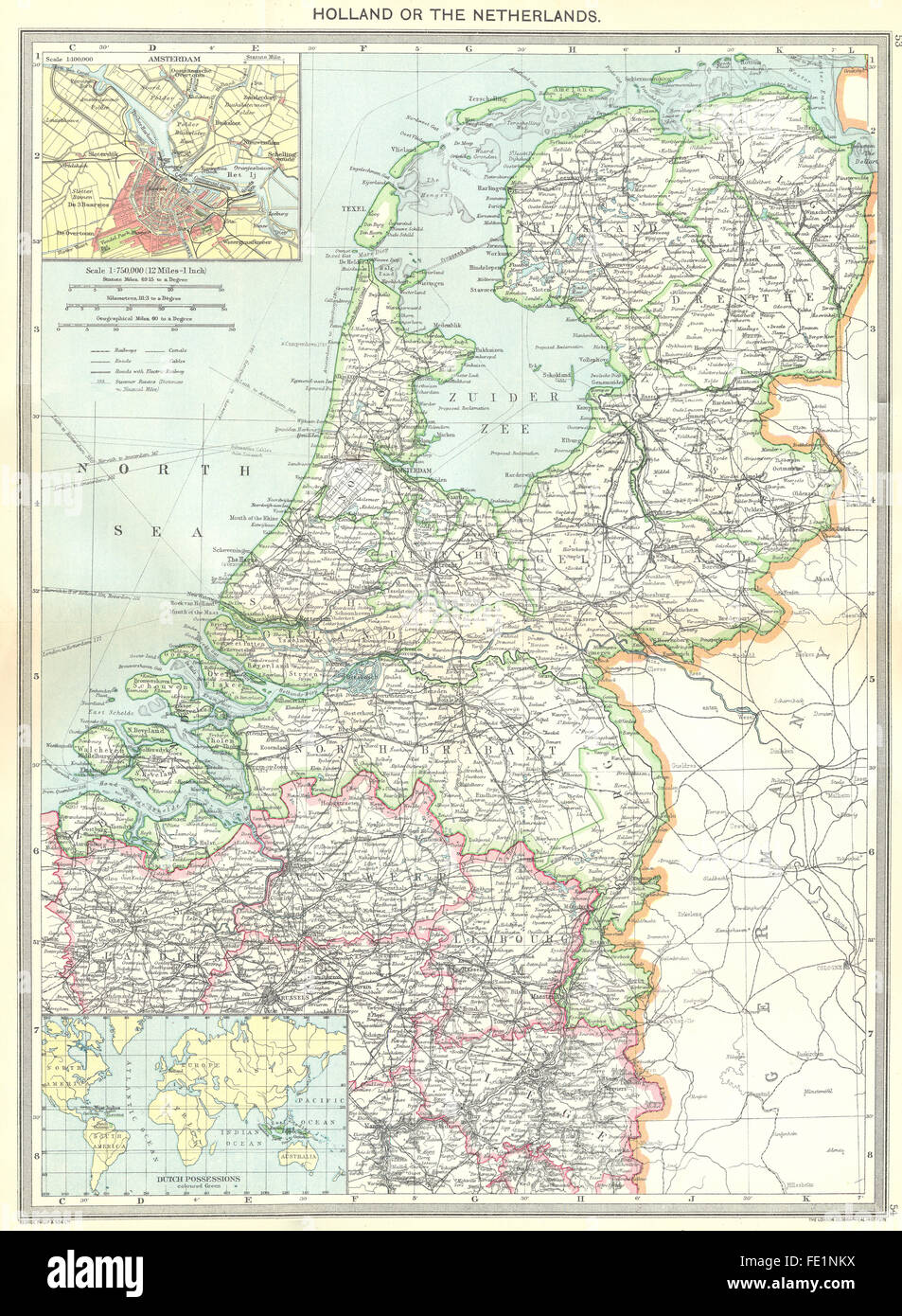 NETHERLANDS: maps of Amsterdam; Dutch Possessions, 1907 - Stock Image