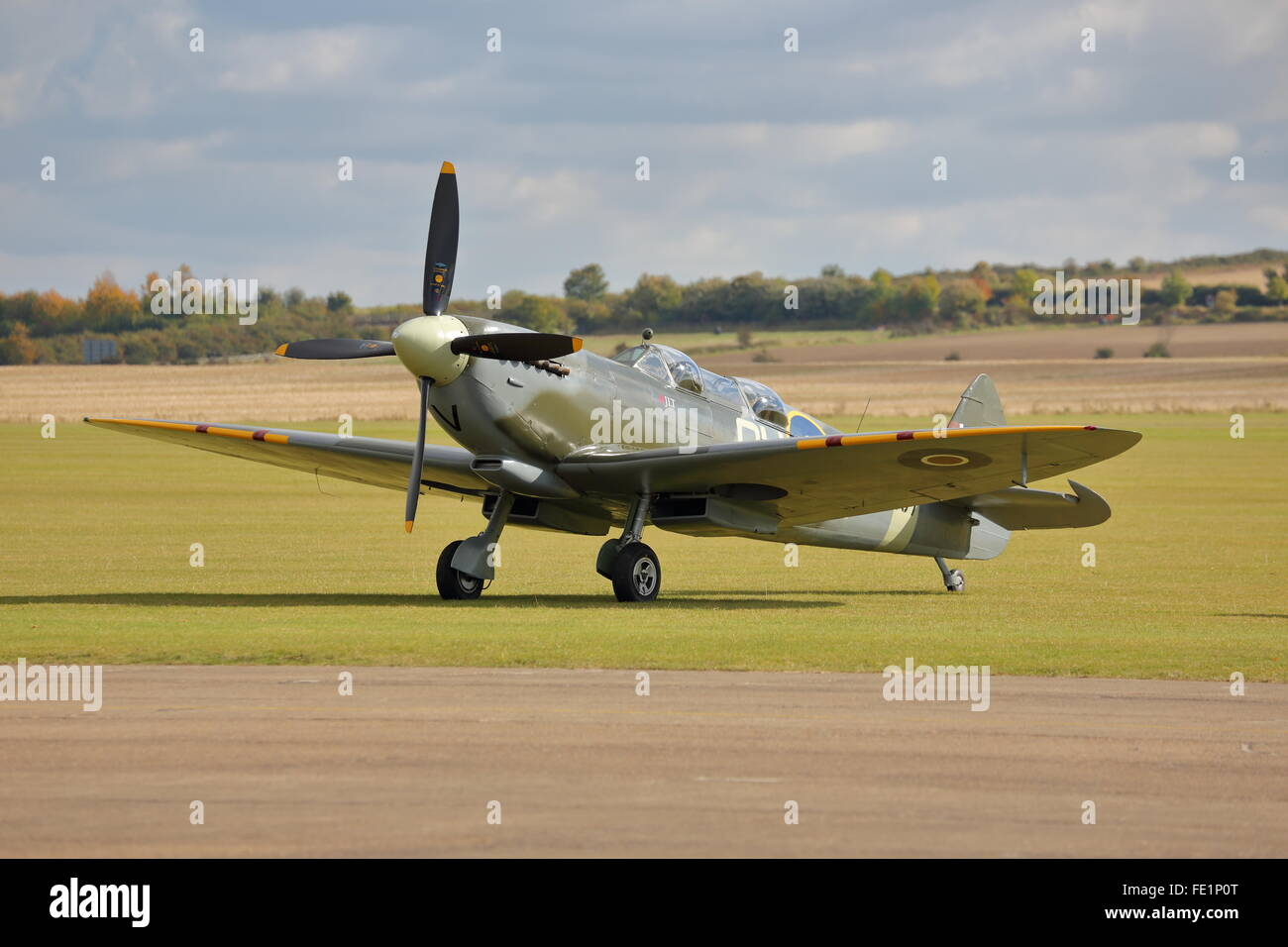 Two-seater Supermarine Spitfire at Duxford Air Show, Cambridge, UK - Stock Image