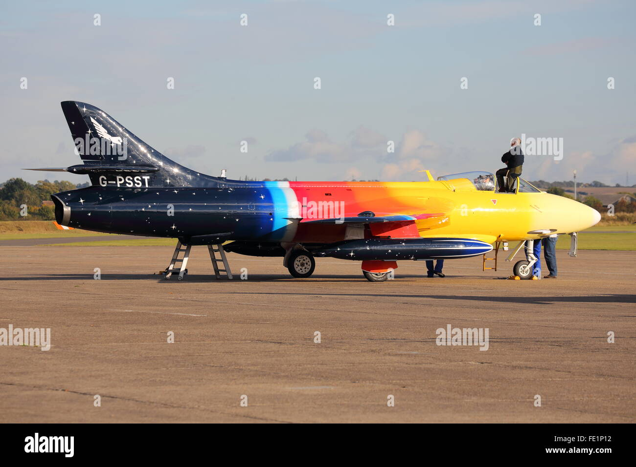 Hawker Hunter Mk. 58A 'Miss Demeanour' G-PSST parked at Duxford Aerodrome during the autumn air show - Stock Image