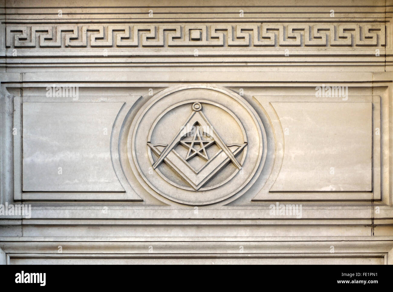 London, England, UK. Freemasons' Hall, Great Queen Street. Detail showing the Masonic Square - The Square and - Stock Image