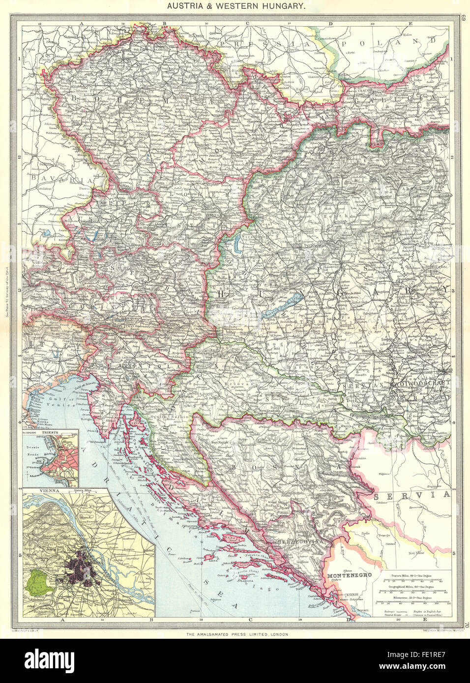 Map of vienna stock photos map of vienna stock images alamy austria western hungary map of trieste vienna 1907 stock image gumiabroncs Gallery