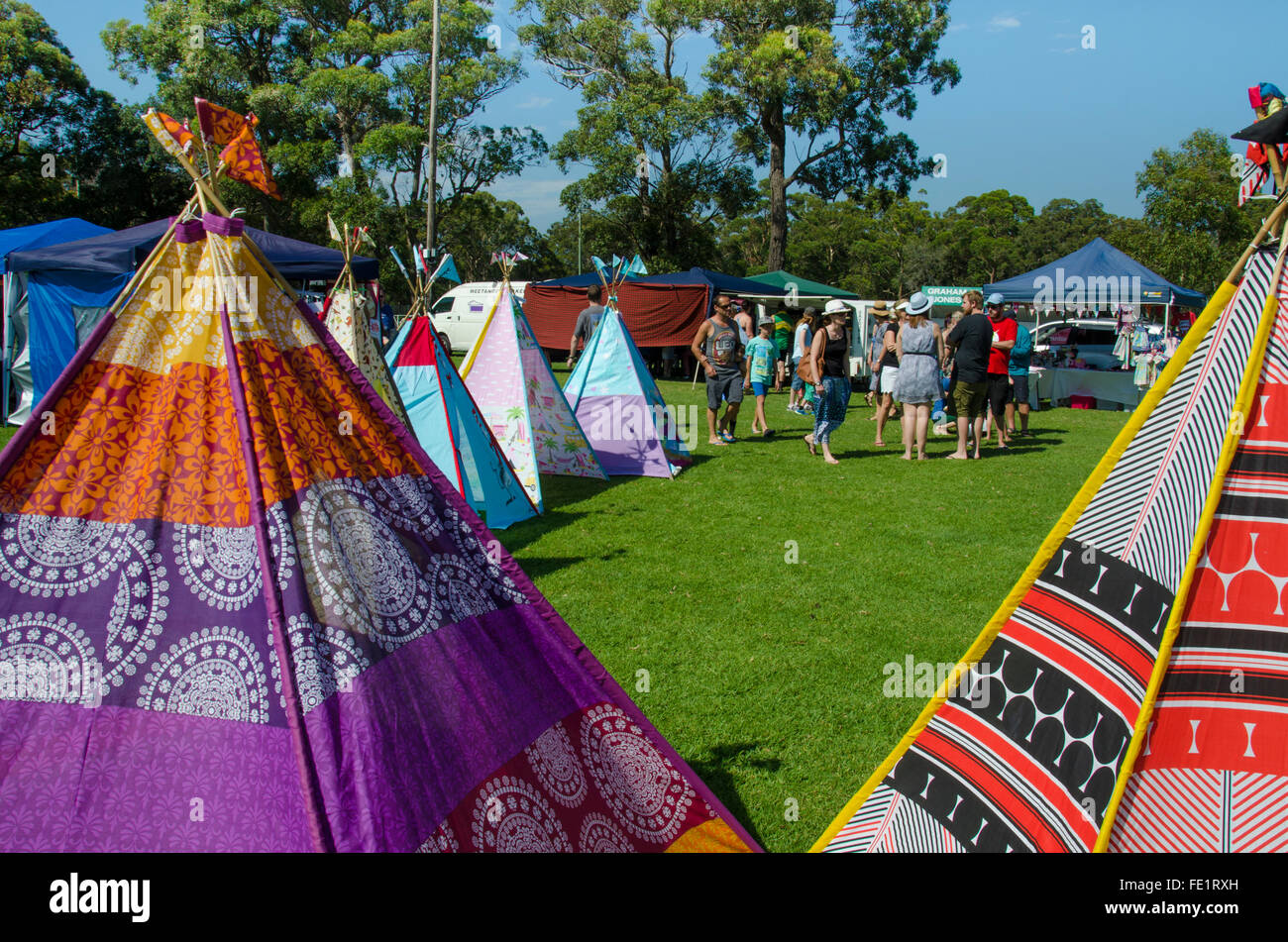 Country market stalls in Australia - Stock Image