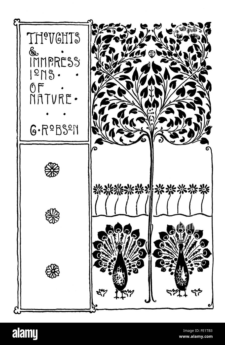Thoughts and Impressions of Nature, book cover design by Edgar L Pattison of London, art nouveau line Illustration - Stock Image