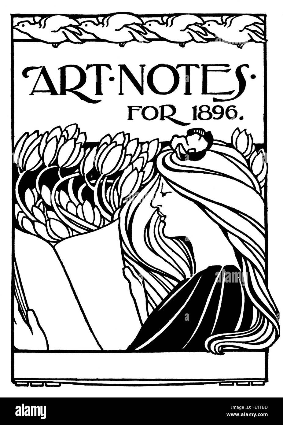 Art Notes for 1896, art nouveau book cover design by Arthur Maude of Chelsea, London, line Illustration 1897 Studio - Stock Image