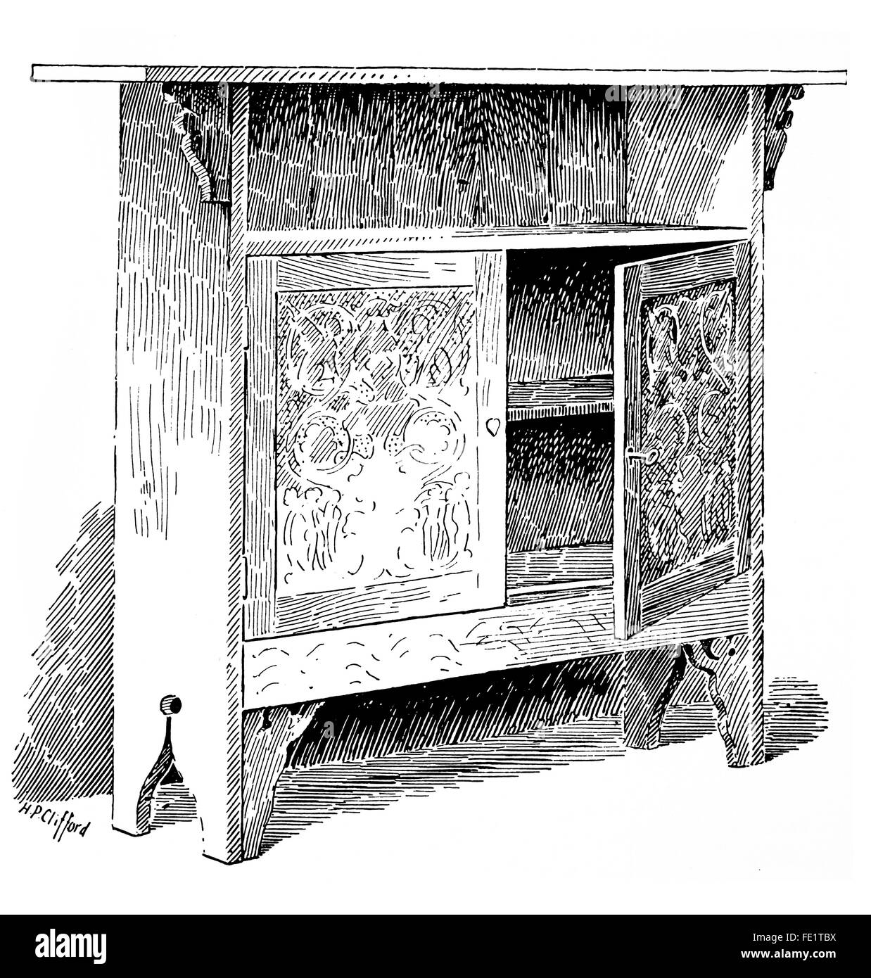 Arts and Crafts furniture Cupboard designed by Mrs Beatrice Carpenter, made by, R, Hurwood, G Butler, W Fawell, - Stock Image
