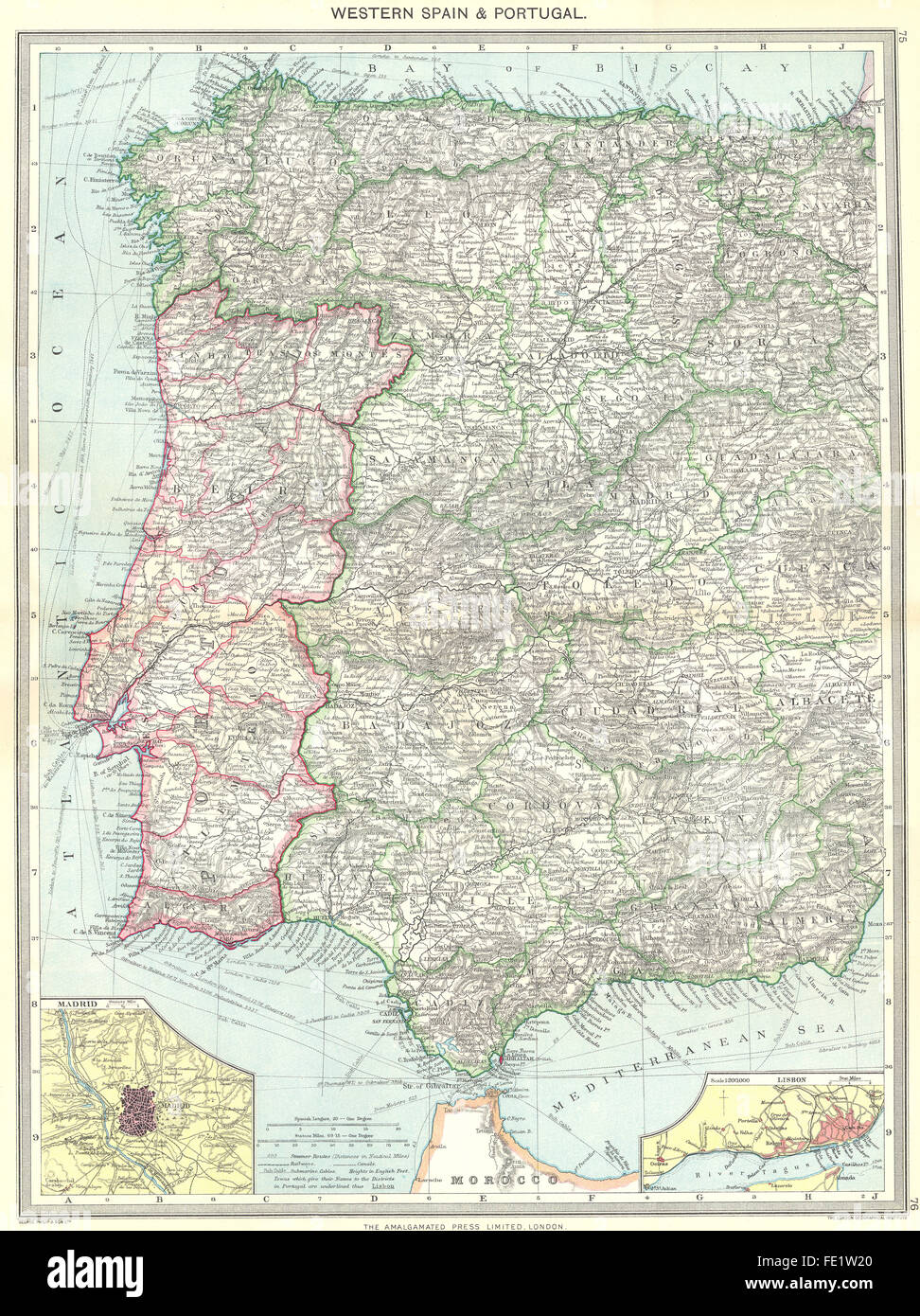 Lisbon Spain Map.Spain Western Portugal Map Of Madrid Lisbon 1907 Stock Photo