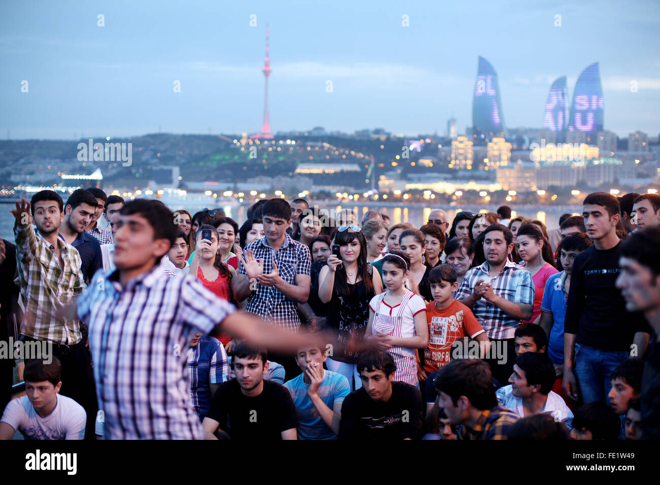 A man dances in the city of Baku, Azerbaijan - Stock Image